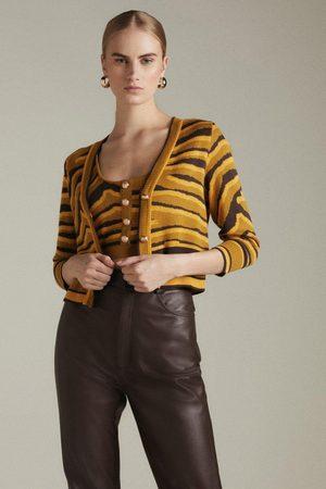 Karen Millen Women Cardigans - Karen Millen Zebra Jacquard Knit Short Cardigan