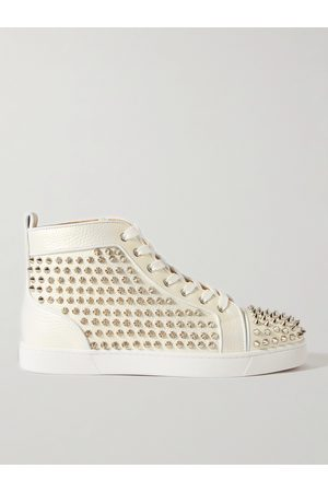 Christian Louboutin Men Trainers - Louis Spiked Full-Grain Leather High-Top Sneakers