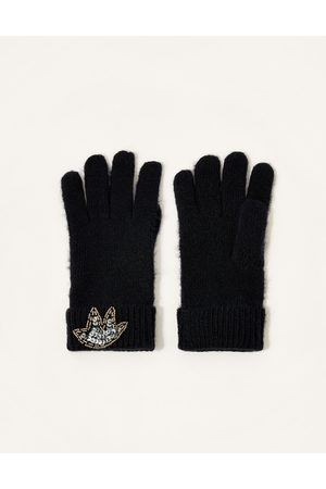 Monsoon Women Gloves - Embellished Cuff Knitted Gloves Plain
