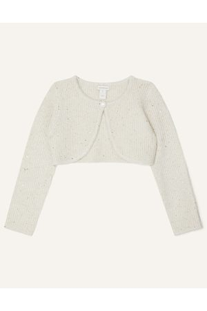 Monsoon Girls Cardigans - Ivory (IVORY) Sequin Cardigan, in Size: 5-6 Years