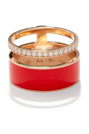 Repossi Berbere Diamond & Lacquered 18kt Rose-gold Ring - Womens - Multi