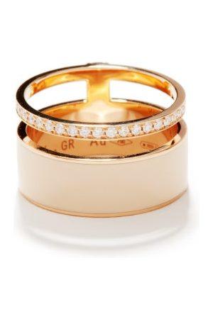 Repossi Berbere Diamond & Lacquered 18kt Rose-gold Ring - Womens - Cream Multi
