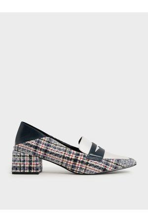 CHARLES & KEITH Tweed Block Heel Penny Loafers