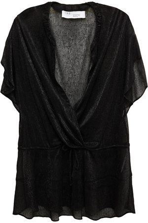 IRO Woman Panoramic Wrap-effect Metallic Knitted Top Size 34