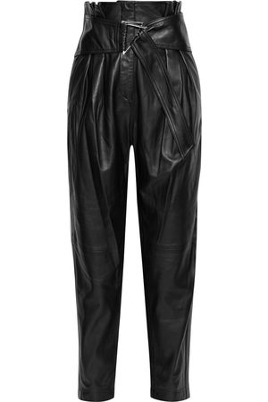 IRO Woman Husvik Belted Pleated Leather Tapered Pants Size 34