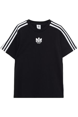 ADIDAS ORIGINALS Woman Embroidered Striped Cotton-jersey T-shirt Size 32