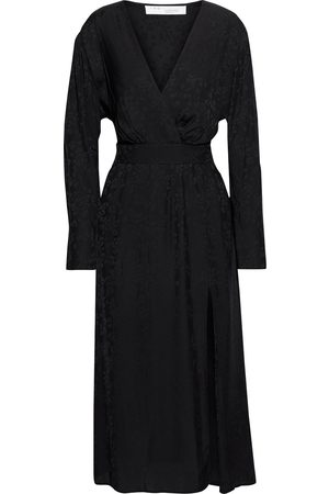 IRO Woman Wrap-effect Leopard-print Satin-jacquard Midi Dress Size 34