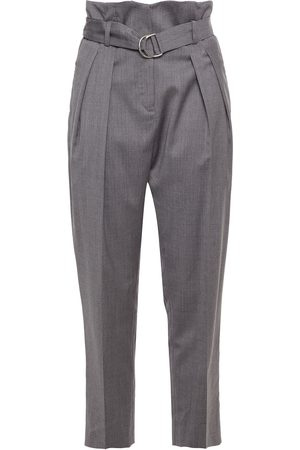 IRO Woman Belted Wool-blend Tapered Pants Gray Size 34
