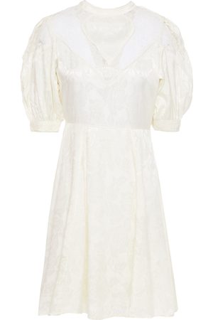 BYTIMO Woman Crochet-trimmed Floral-jacquard And Lace Mini Dress Ivory Size L