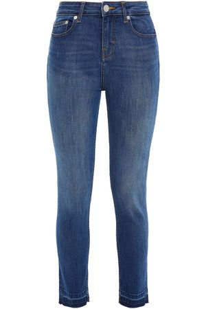 MAJE Woman Frayed Mid-rise Skinny Jeans Mid Denim Size 34