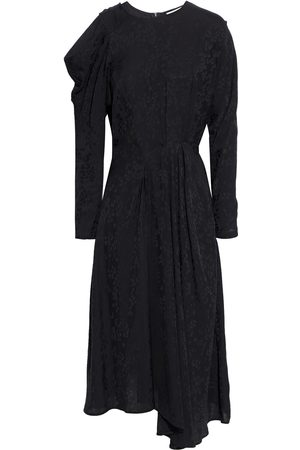 IRO Woman Atry Asymmetric Cold-shoulder Satin-jacquard Midi Dress Size 34