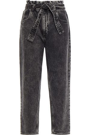 MAJE Woman Cropped Belted High-rise Tapered Jeans Anthracite Size 40