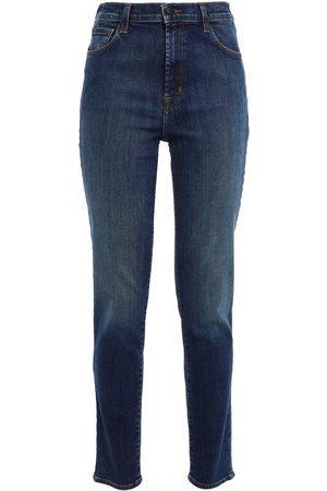 J BRAND Woman Faded High-rise Slim-leg Jeans Dark Denim Size 23