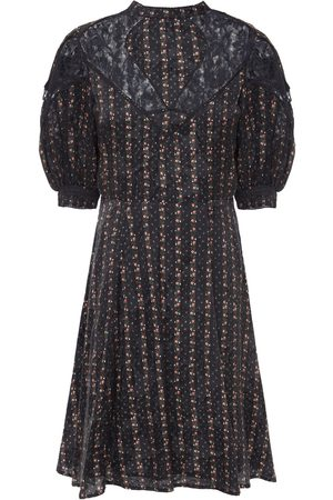 BYTIMO Woman Crochet-trimmed Floral-jacquard And Lace Mini Dress Size L