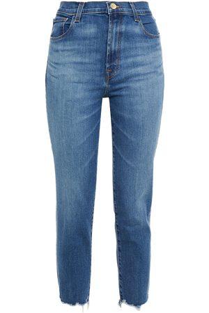 J BRAND Woman Cropped Distressed High-rise Slim-leg Jeans Mid Denim Size 23