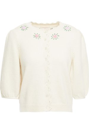 BYTIMO Woman Embroidered Wool And Mohair-blend Cardigan Ivory Size L