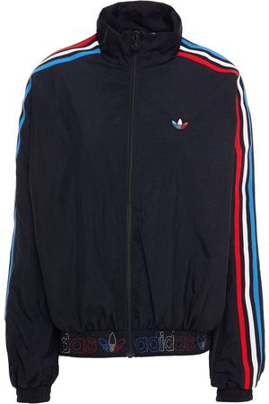 ADIDAS ORIGINALS Woman Striped Crinkled-shell Track Jacket Size 30