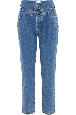 RE/DONE Women Tapered - Woman Fold-over High-rise Tapered Jeans Mid Denim Size 23