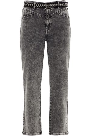 MAJE Women Straight - Woman Pierre Cropped Belted High-rise Straight-leg Jeans Dark Gray Size 38