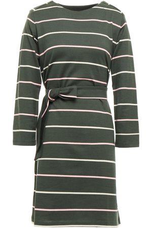 A.P.C. Woman Belted Striped Cotton-jersey Mini Dress Dark Size L