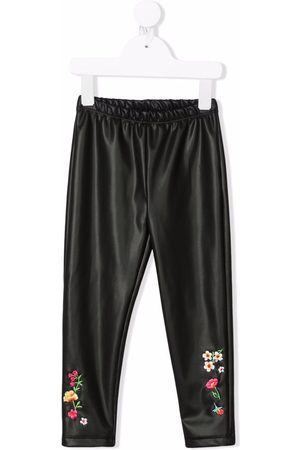 MONNALISA Leather-effect floral-embroidered leggings