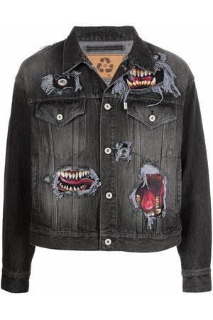 DOUBLET Graphic-print button-up denim jacket