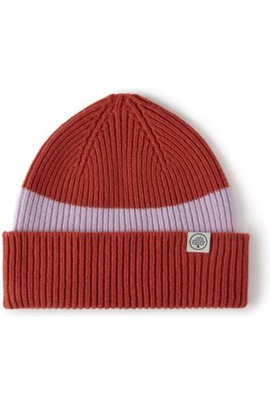 MULBERRY Colour Block Knitted Beanie - Pumpkin-Icy