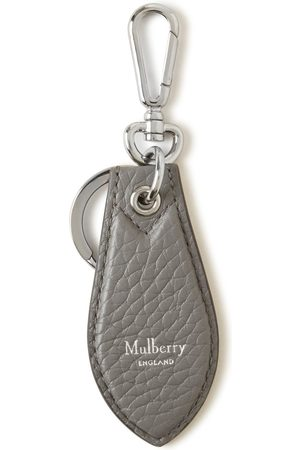 MULBERRY Men's Leather Tab Keyring - Charcoal