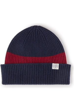 MULBERRY Colour Block Knitted Beanie - Navy-Oxblood