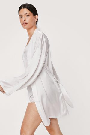 NASTY GAL Womens Premium Satin Belted Dressing Gown