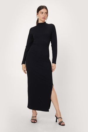 NASTY GAL Womens Recycled Twist Back Ribbed Midaxi Dress