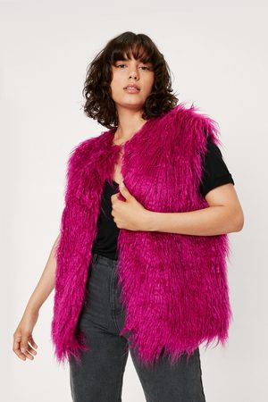 NASTY GAL Womens Shaggy Faux Fur Sleeveless Gilet