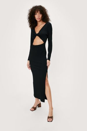 NASTY GAL Women Bodycon Dresses - Womens Recycled Ribbed Twist Front Midaxi Dress