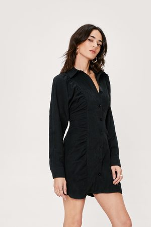 Nasty Gal Womens Petite Suedette Ruched Shirt Dress