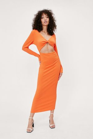 Nasty Gal Womens Recycled Ribbed Twist Front Midaxi Dress