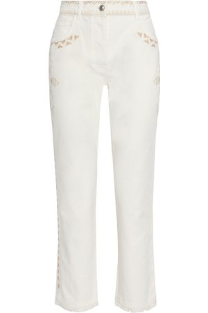 Etro Women Skinny - Woman Cropped Embroidered Frayed High-rise Slim-leg Jeans Cream Size 38