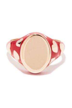 Alison Lou Amour 14kt Gold & Enamel Signet Ring - Womens - Multi