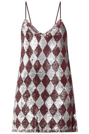 Ashish Sequinned Harlequin Georgette Mini Dress - Womens - Burgundy Multi