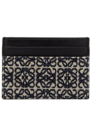 Loewe Anagram Jacquard And Leather Cardholder - Womens - Navy