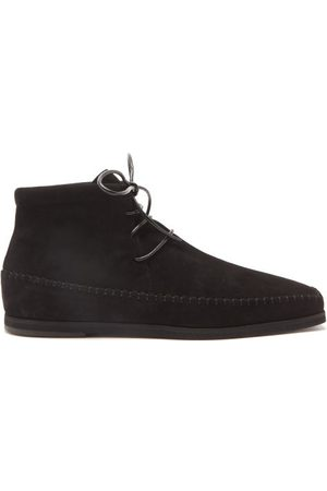 Totême Square-toe Lace-up Suede Ankle Boots - Womens
