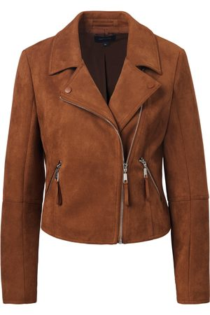 comma, Jacket made of soft, elasticated faux suede size: 16