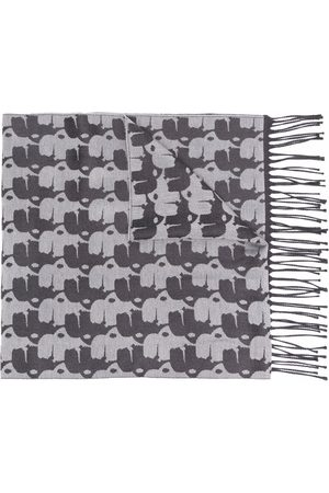 Karl Lagerfeld Embroidered fringed scarf