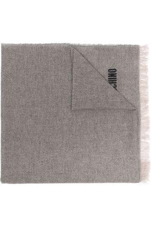 Moschino Logo-embroidered cashmere scarf - Neutrals
