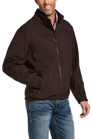 Ariat Men's Logo 2.0 Patriot Softshell Water Resistant Jacket Long Sleeve Fleece in Coffeebean