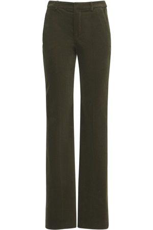 SAINT LAURENT Women Wide Leg Trousers - Cotton Velour Wide Leg Pants