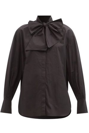 Another Tomorrow Pussy-bow Neck Cotton-poplin Blouse - Womens