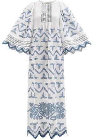 VITA KIN Virginie Embroidered Linen Maxi Dress - Womens