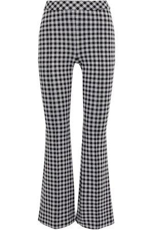 ROSETTA GETTY Women Wide Leg Trousers - Woman Gingham Woven Flared Pants Size L