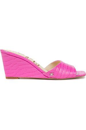 Sam Edelman Woman Croc-effect Leather Wedge Mules Bright Size 5
