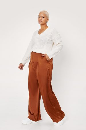 NASTY GAL Womens Plus Size Pleat Front Satin Wide Leg trousers